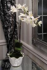 NEW DOUBLE STEM ARTIFICIAL SILK FLOWER WHITE ORCHID ARRANGEMENT LEAVES PLANTER