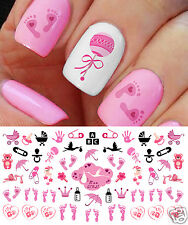 """""""Its a Girl!"""" Nail Art Decals Footprints, Strollers & More! Baby Shower Gift!"""
