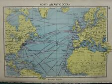 MAPPA 1942 ~ NORD ATLANTICO. AMERICA PULITRICE A VAPORE Itinerari europa Isole Britanniche