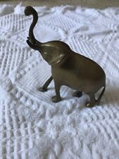 "Brass Medium Heavy Metal Elephant Figurine Trunk Up Luck detailed Patina 4 1/2"""