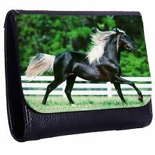 Beautiful Black Horse Tri-Fold Wallet w/ Button Pocket