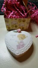 Precious Moments 255823 Love is Kind Covered Box. Girl feeding bird. Trinket Box
