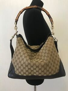 Authentic Gucci guccissima Bamboo Peggy Hobo shoulder bag