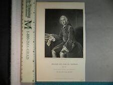 Rare Antique Orig VTG 1833 William Pitt Earl Of Chatham Hall Engraving Art Print