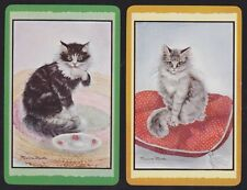 2 Single VINTAGE Swap/Playing Cards CONTENTED CATS Artist Signed Maxine Marks