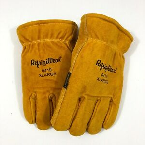 RefrigiWear Warm Double Insulated Cowhide Leather Work Gloves Abrasion Pads XL