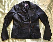 ASOS Faux Leather Biker Black Jacket Women Size UK 14 EU 42 US 10