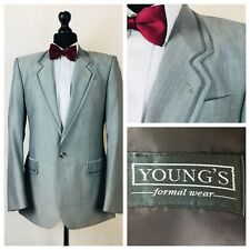 Mens Youngs Tuxedo Dinner Suit Jacket 44 Grey Wool Mohair Formal  X15A