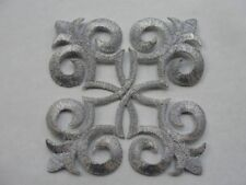 Silver Metallic Floral Scrollwork Crest Costume Iron On Patch Applique 3.5 Inche