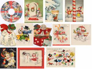 Vintage Christmas Snowman Cards CD V. 1