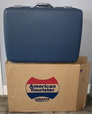 Vintage American Tourister Blue Hard Shell Suitcase Luggage #1027 w/Box & Keys