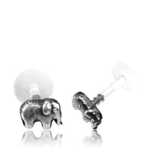 1 REAL SILVER ELEPHANT TRAGUS EAR RING LIP NOSE RING EARRINGS BIOPLAST STUD