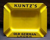 "Vintage Kuntz's Old German Lager Enamel Ashtray Yellow Black Metal 6"" Rectangle"