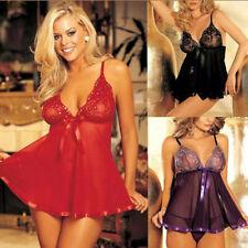Sexy lace babydoll lingerie floral nightwear sleepwear underwear thong plus size