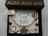 Alex and Ani Because I Love You MOM III Bracelet Rafaelian Silver NWTBC