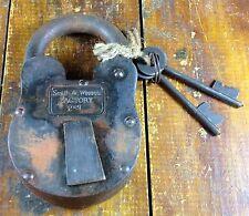 Smith & Wesson Factory 4XL Sturdy Heavy Duty Iron Padlock Lock Brass Tag 2 Keys