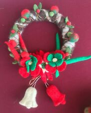 Handmade Holiday Wreath from Nepal Natural Wool Red Green Brown Colors