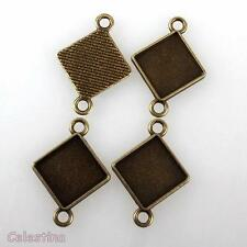 10 Antique Bronze Square Cabochon Settings - Connector Pendant Bezels