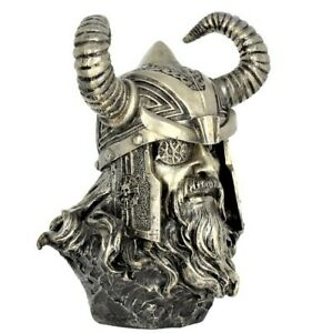 Norse God Odin Bust Valhalla Nordic Viking Ornament Statue Figurine Pewter Color
