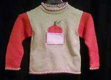 Mulberribush 100% Cotton Pumpkin Halloween Sweater Girls Size 5T Hand Loomed