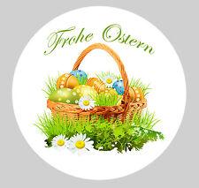 Oster-Aufkleber Rund 100Stk. Sticker Frohe Ostern  Ø 30mm PVC-Folie Set nr4