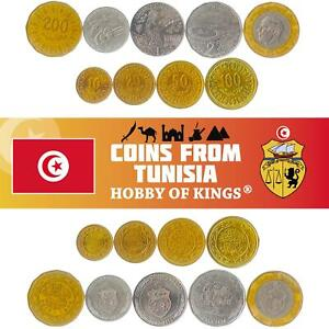 SET 9 COINS FROM TUNISIA. 10, 20, 50, 100, 200 MILLIMES, 1/2, 1, 2 AND 5 DINARS