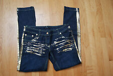 New Dark Blue W/Gold Painted Accents DENNY ROSE Jeans W/ Zippered Legs Small