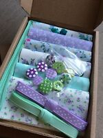 """Patchwork Craft Kit Purple Green 4"""" Fabric Squares Ribbon Buttons Floral Gift"""