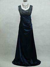 Cherlone Dark Blue Full Length Ballgown Wedding Bridesmaids Evening Dress UK 8