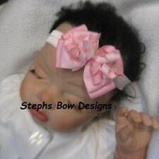 Pink & Soft Pink Dainty Layered Korker Hair Bow Headband FITS Preemie to Toddler