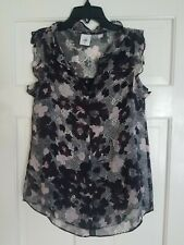 CAbi Weaver Blouse Floral Ruffle Sleeveless Top with Cami, XS