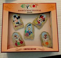 WDW - Epcot Food and Wine Festival 2006 - 5 Pin Set LE 750 Disney Pin 49820 RARE