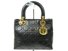 Authentic Christian Dior Lady Dior Hand Bag Cannage Lambskin OK condition r1673