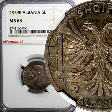 Albania Vittorio Emanuele III Silver 1939 R 5 Lek NGC MS63 WWII Ocupation KM# 33