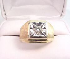 DIAMOND .22 CT 10K YELLOW & WHITE GOLD MEN'S VINTAGE RING Sz 10 1/2 .. 7.5 grams