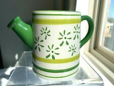 Ceramic Water / Watering Can with Spout Green & White