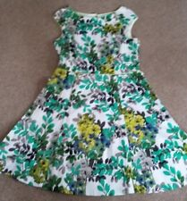 White Yellow. Green floral print Cotton dress sleeveless Back Décolleté size 14