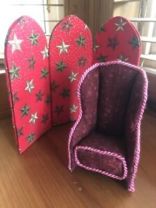 Set of Dolls House Furniture - Tall Backed Armchair & Screen / Room Divider