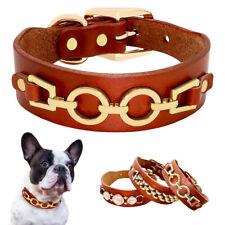 Genuine Leather Studded Dog Collar Brown Small Medium Adjustable  French Bulldog