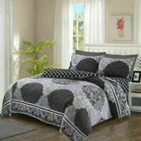 100% Cotton (Vector grey) Duvet Cover and Pillowcase Fitted Sheet Bedding Set