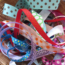 10 Mtr Bundle Spotty Grosgrain Ribbon Trimmings Assorted Colours/Widths Offcuts