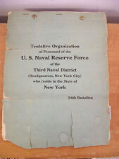 1920 Us Naval Reserve Force Third District 34th Battalion Organizational Charts