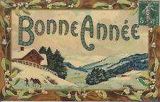 Carte Postale Fantaisie Ancienne  Carte Bonne Année Papier Glacé