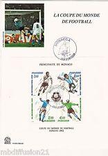1982//ENCART 1°JOUR**COUPE DU MONDE DE FOOTBALL-MONACO**BLOC  Y/T 21