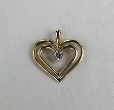 10k YG Diamond Double Heart Pendant~~1/10 Ct. Champagne Diamond--Free Shipping!