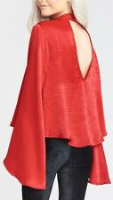 Show Me Your Mumu Olsen Bell Sleeve Cutout Top Size XS Cherry Red Chocker Tunic