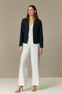 Wallis Womens Ivory Wide Leg Cut Trousers Flat Front Smart Work Pants