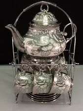 13pc Chinese Tea Sets - Tea Pot & 6 Cups & Saucers with Rack..Silver tone.