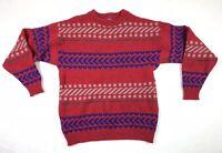 Pendleton Men's Red Blue Virgin Wool Stripe Sweater Size Large