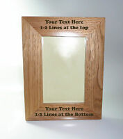 Personalised Natural Oak Wooden Photo 5 x 7 Frame - Custom Engraved Any Message